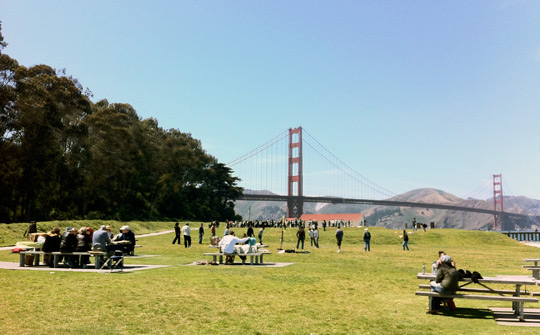 Crissy fields e il Golden Gate Bridge